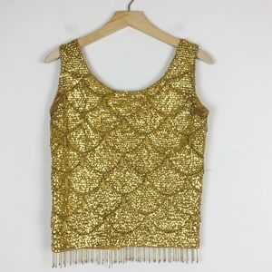 Vintage sequinned gold shell angora lambswool